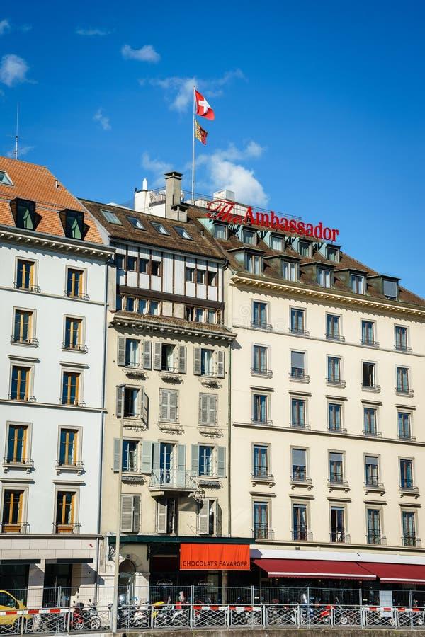 Hotel Ambassador Geneva. Hotel Ambassador at night in Geneva, Switzerland. Photo taken on: April 03rd, 2014 stock image