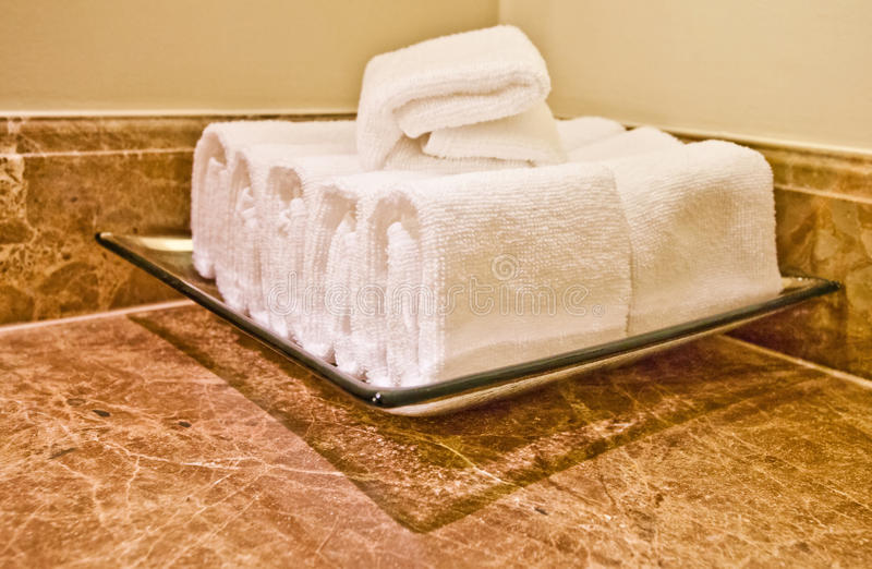 Hotel Amenities - Hand Towels. Luxury hotel bathroom hand towels royalty free stock images