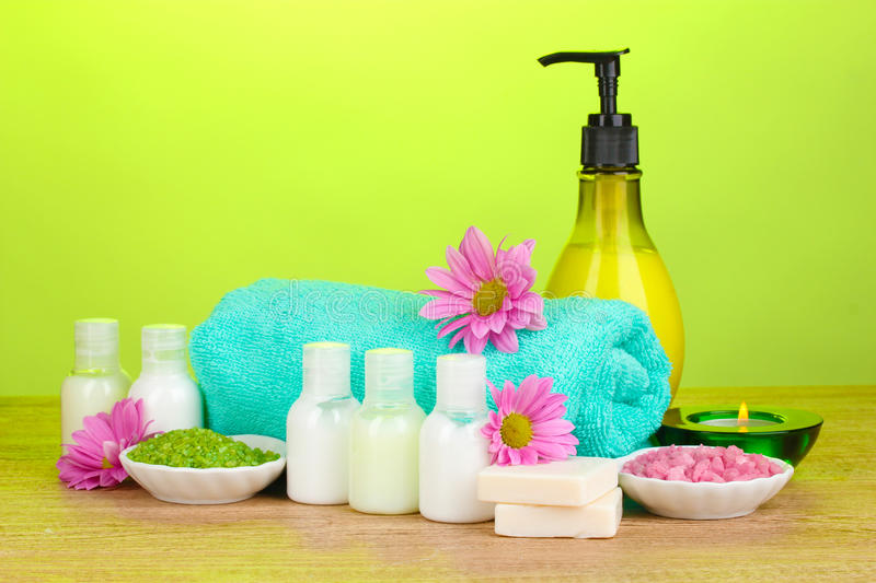 Download Hotel Amenities Kit On Wooden Stock Photo - Image: 23759488