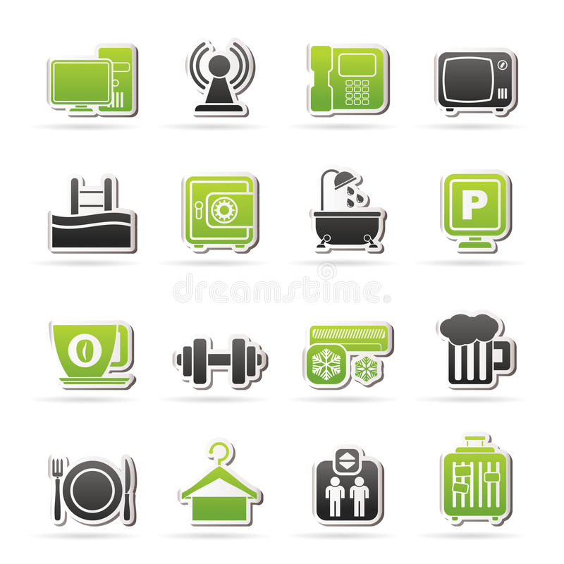 Hotel Amenities Services Icons Stock Vector