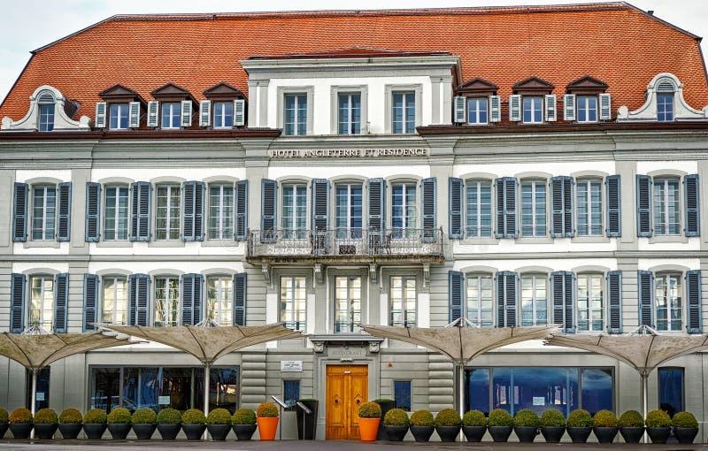 Hotel Angleterre In Lausanne Switzerland Editorial Stock Photo
