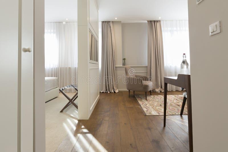 Hotel apartment interior with rotating mirror tv.  stock photo
