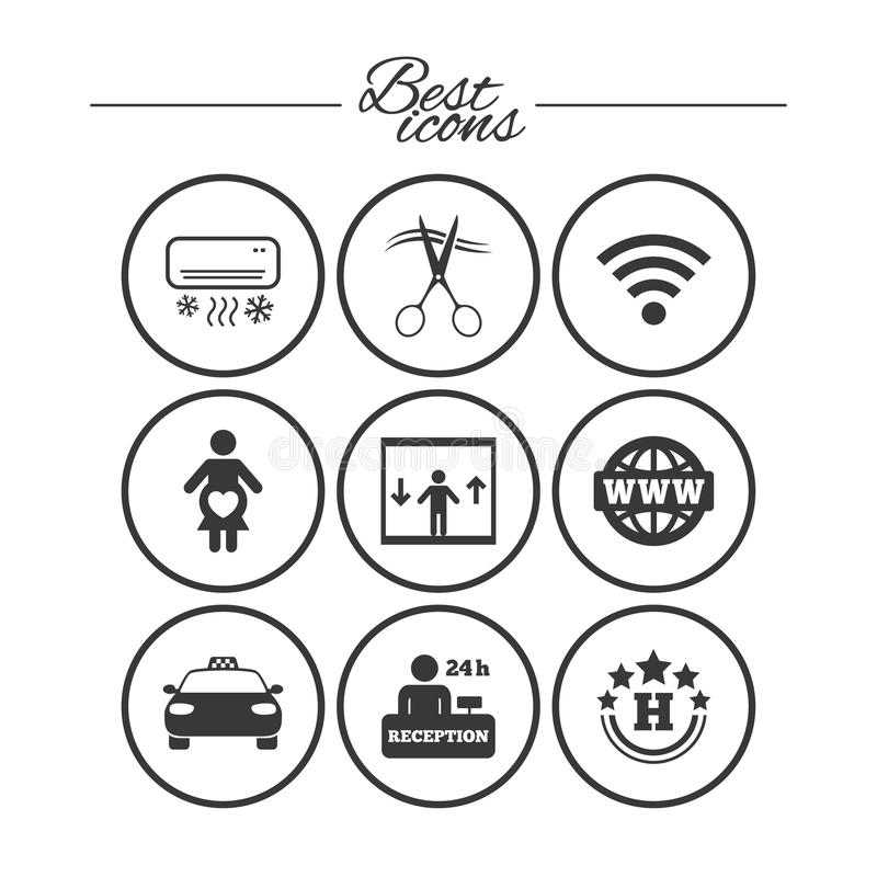 Hotel, apartment service icons. Barbershop sign. Pregnant woman, wireless internet and air conditioning symbols. Classic simple flat icons. Vector stock illustration