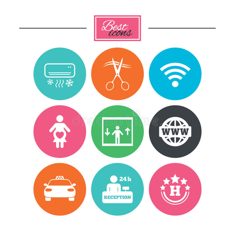 Hotel, apartment service icons. Barbershop sign. Pregnant woman, wireless internet and air conditioning symbols. Colorful flat buttons with icons. Vector vector illustration