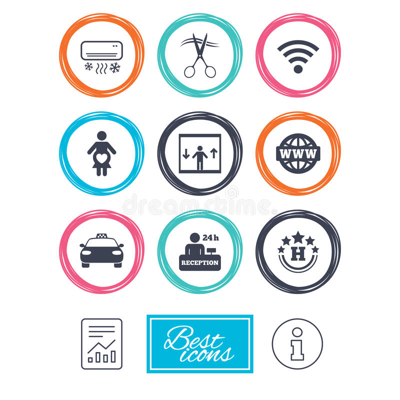 Hotel, apartment service icons. Barbershop sign. Pregnant woman, wireless internet and air conditioning symbols. Report document, information icons. Vector vector illustration
