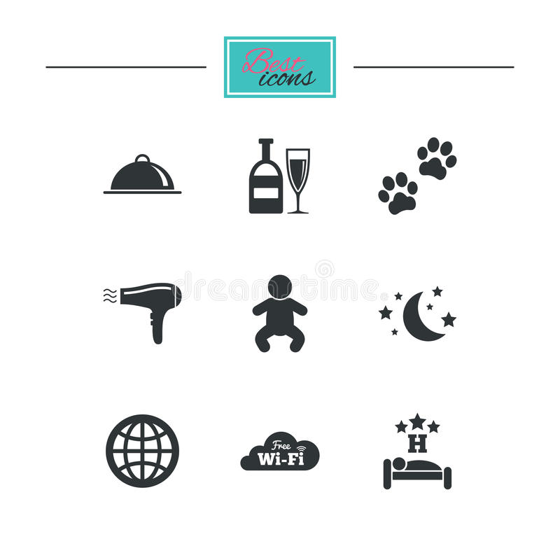 Hotel, apartment service icons. Restaurant sign. Alcohol drinks, wi-fi internet and sleep symbols. Black flat icons. Classic design. Vector vector illustration
