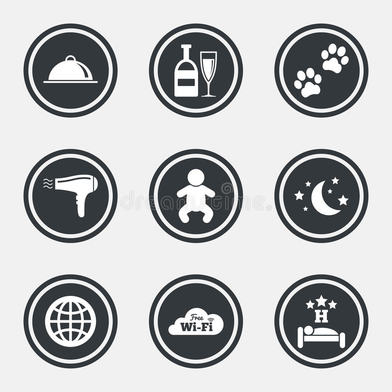 Hotel, apartment service icons. Restaurant sign. Alcohol drinks, wi-fi internet and sleep symbols. Circle flat buttons with icons and border. Vector royalty free illustration