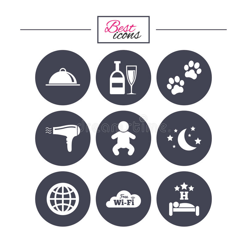 Hotel, apartment service icons. Restaurant sign. Alcohol drinks, wi-fi internet and sleep symbols. Classic simple flat icons. Vector vector illustration