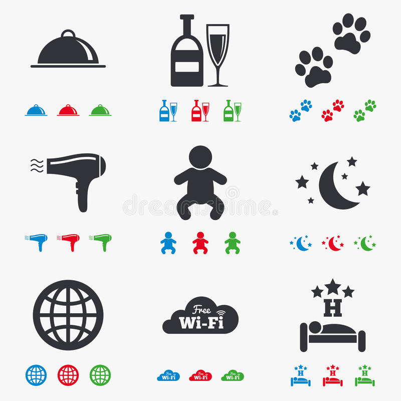 Hotel, apartment service icons. Restaurant sign. Alcohol drinks, wi-fi internet and sleep symbols. Flat black, red, blue and green icons vector illustration