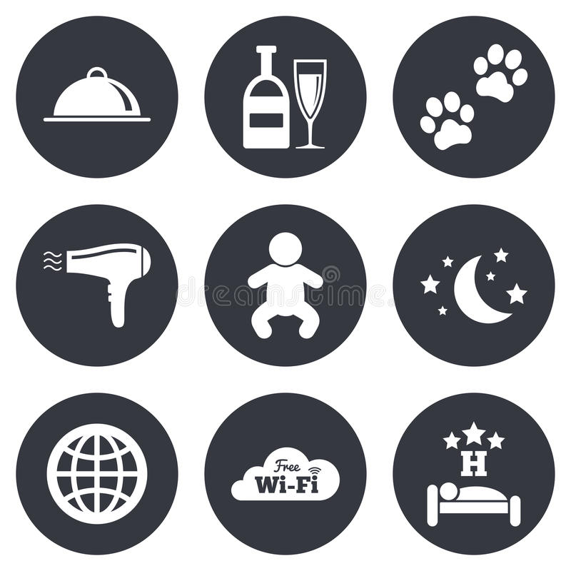 Hotel, apartment service icons. Restaurant sign. Alcohol drinks, wi-fi internet and sleep symbols. Gray flat circle buttons. Vector stock illustration