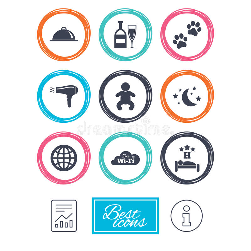 Hotel, apartment service icons. Restaurant sign. Alcohol drinks, wi-fi internet and sleep symbols. Report document, information icons. Vector royalty free illustration