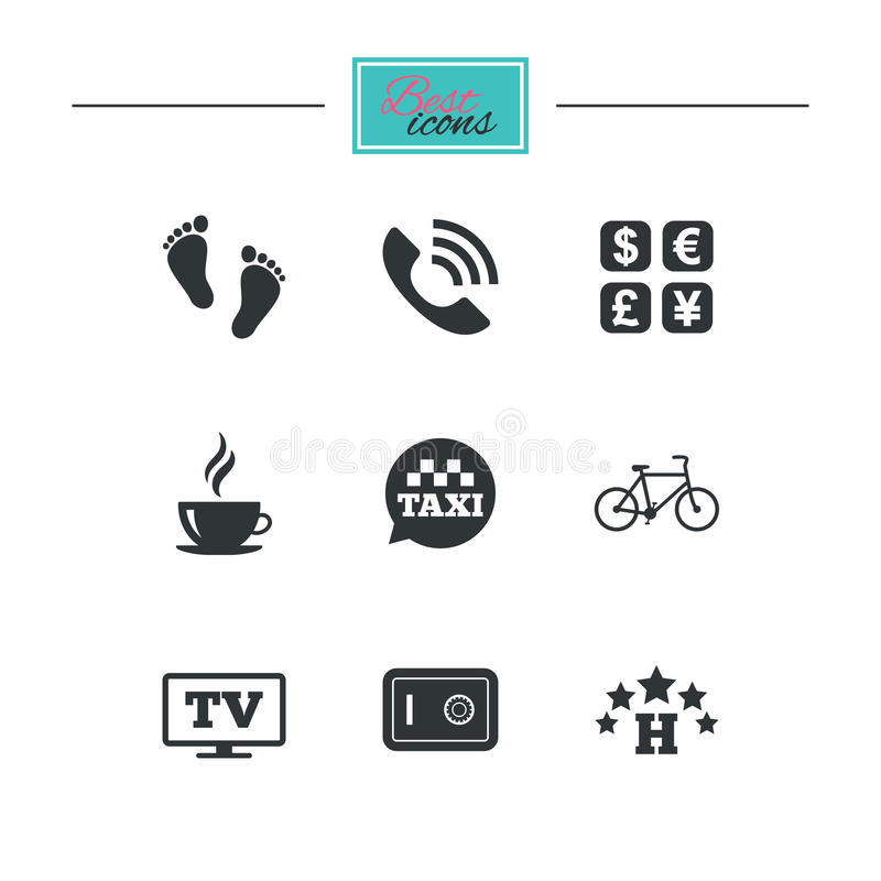 Hotel, apartment services icons. Coffee sign. Phone call, kid-friendly and safe strongbox symbols. Black flat icons. Classic design. Vector vector illustration