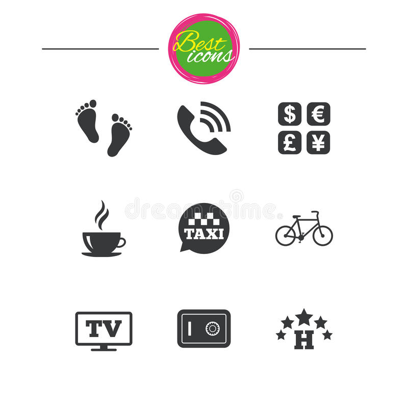 Hotel, apartment services icons. Coffee sign. Phone call, kid-friendly and safe strongbox symbols. Classic simple flat icons. Vector royalty free illustration
