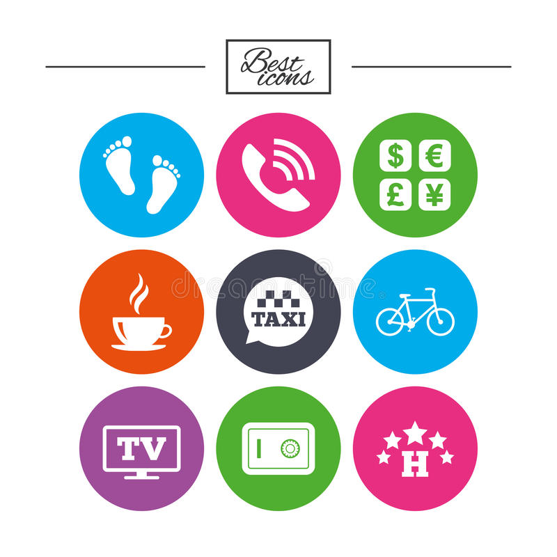Hotel, apartment services icons. Coffee sign. Phone call, kid-friendly and safe strongbox symbols. Classic simple flat icons. Vector stock illustration