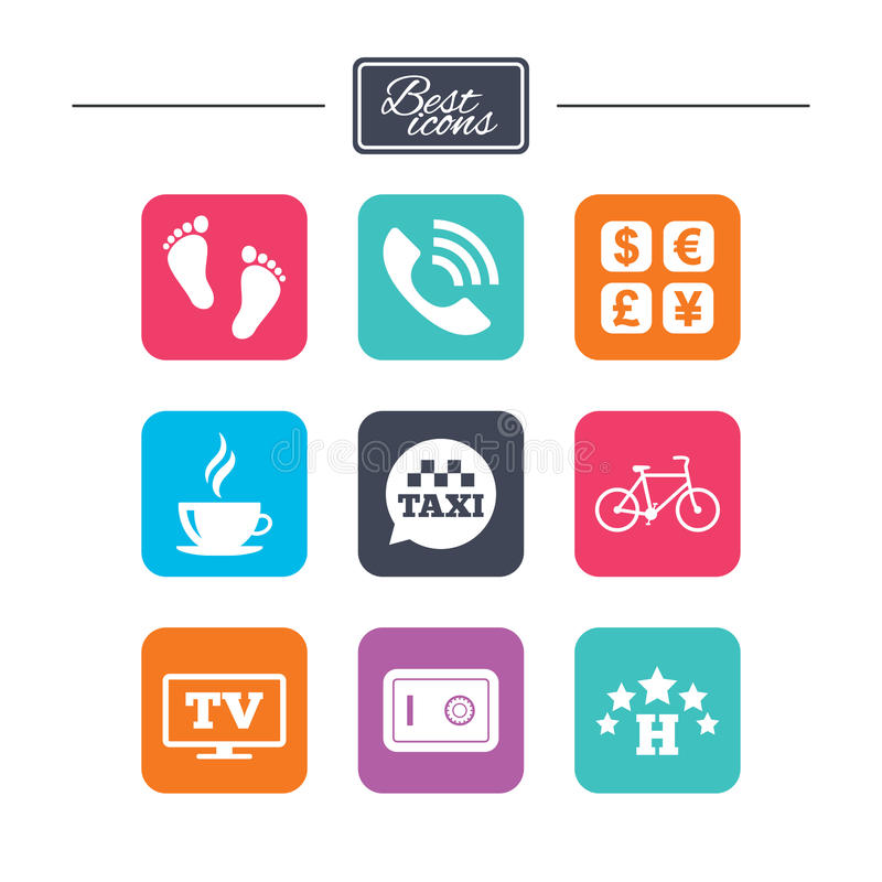 Hotel, apartment services icons. Coffee sign. Phone call, kid-friendly and safe strongbox symbols. Colorful flat square buttons with icons. Vector vector illustration