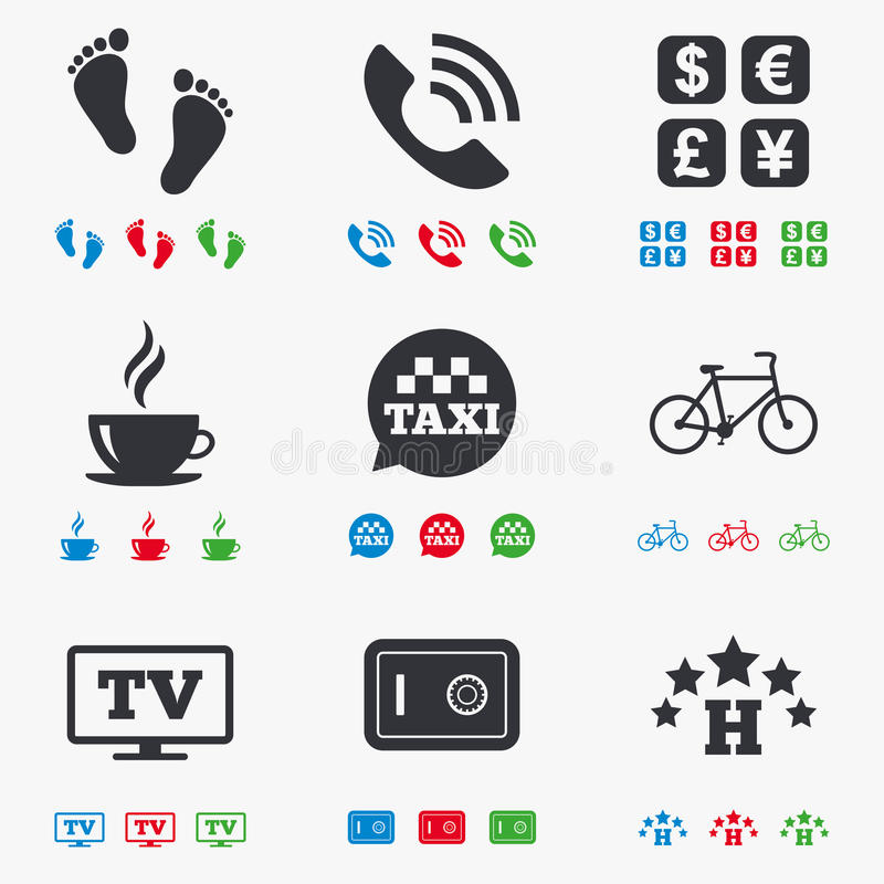 Apartment Services: Hotel, Apartment Services Icons. Coffee Sign Stock Vector