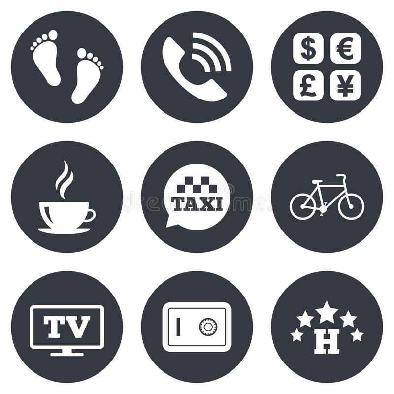 Hotel, apartment services icons. Coffee sign. Phone call, kid-friendly and safe strongbox symbols. Gray flat circle buttons. Vector vector illustration