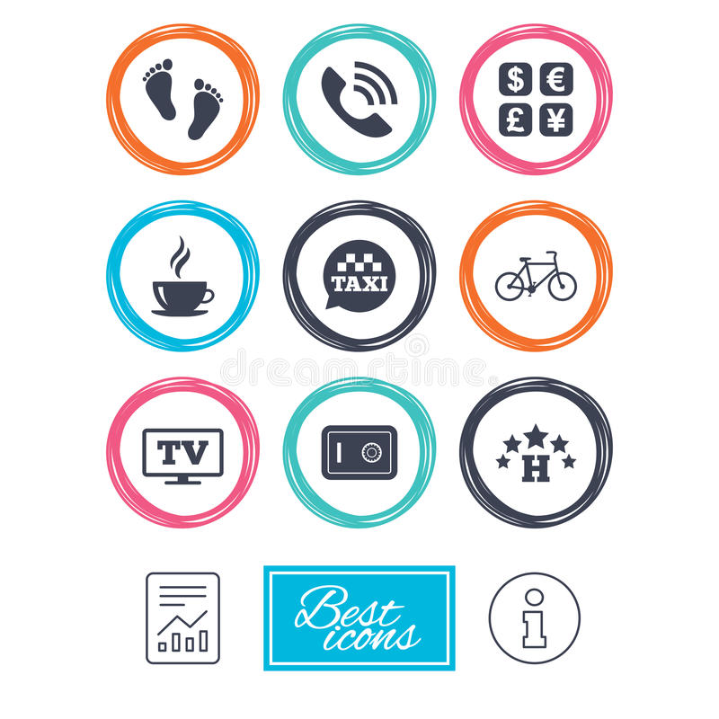 Hotel, apartment services icons. Coffee sign. Phone call, kid-friendly and safe strongbox symbols. Report document, information icons. Vector vector illustration