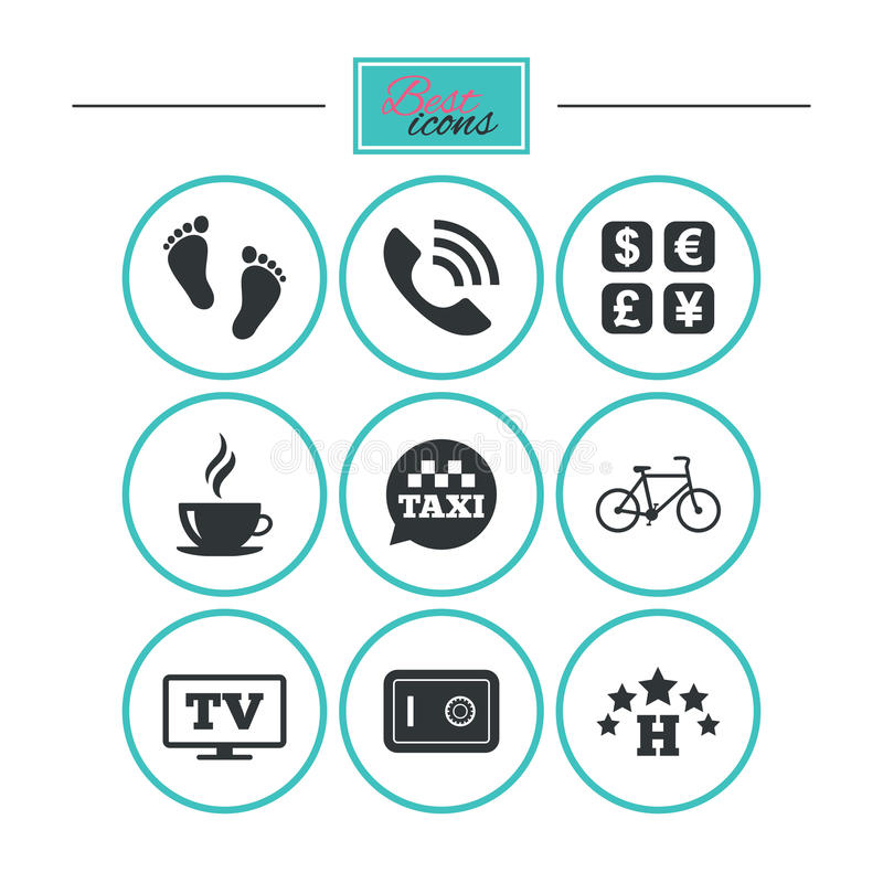 Hotel, apartment services icons. Coffee sign. Phone call, kid-friendly and safe strongbox symbols. Round flat buttons with icons. Vector vector illustration