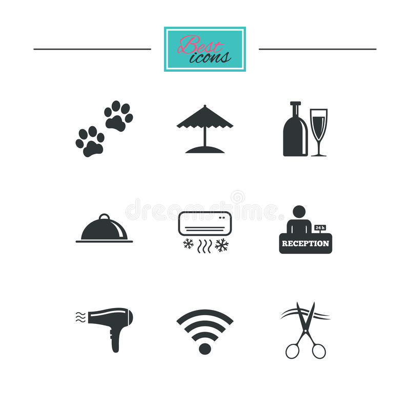 Hotel, apartment services icons. Wifi sign. Hotel, apartment services icons. Wifi internet sign. Pets allowed, alcohol and air conditioning symbols. Black flat royalty free illustration