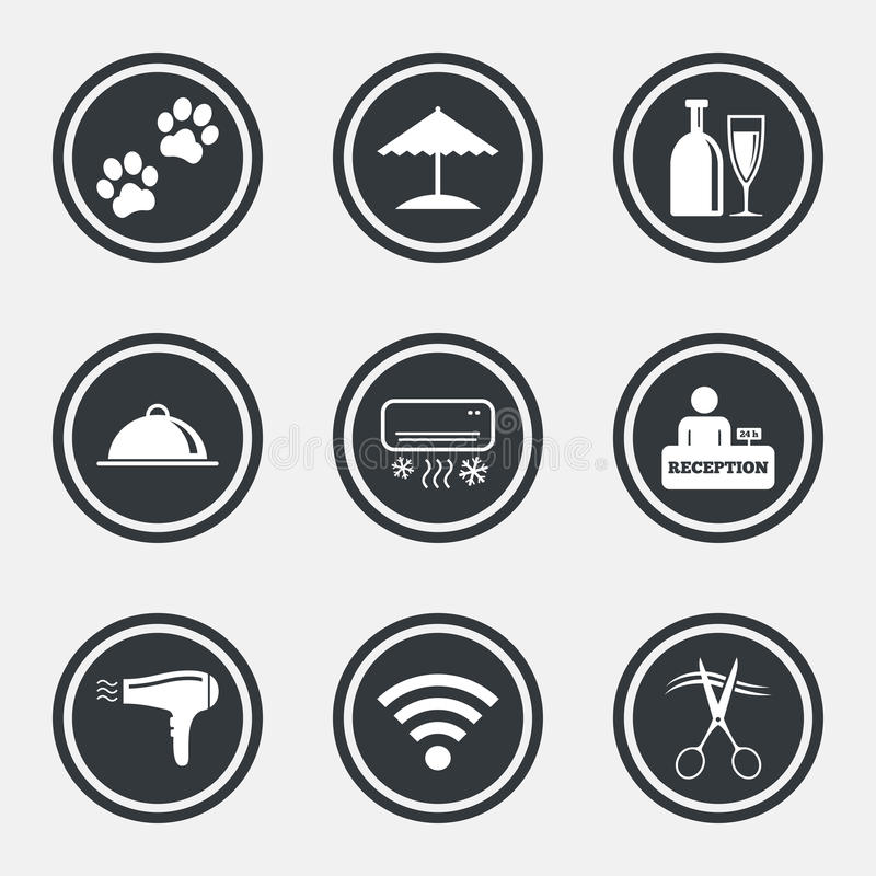 Hotel, apartment services icons. Wifi sign. Hotel, apartment services icons. Wifi internet sign. Pets allowed, alcohol and air conditioning symbols. Circle flat royalty free illustration