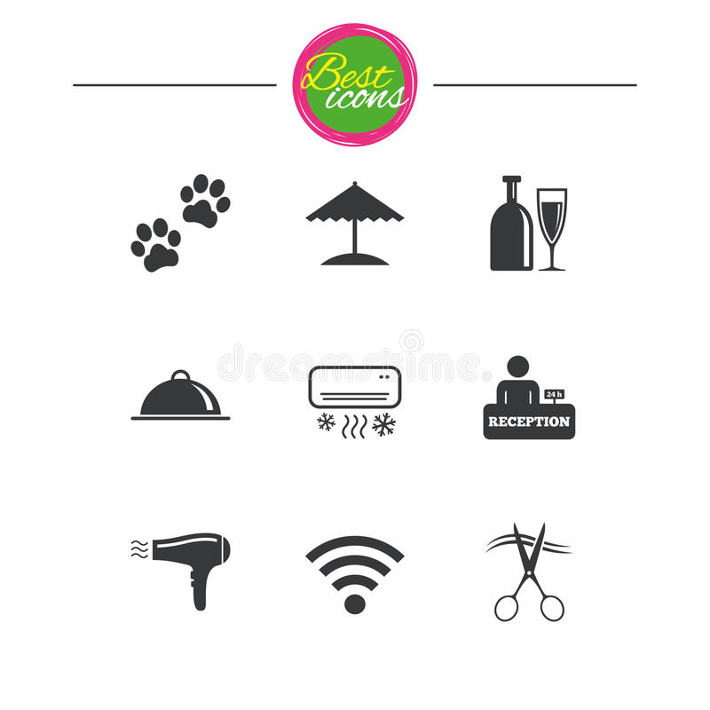 Hotel, apartment services icons. Wifi sign. Hotel, apartment services icons. Wifi internet sign. Pets allowed, alcohol and air conditioning symbols. Classic vector illustration