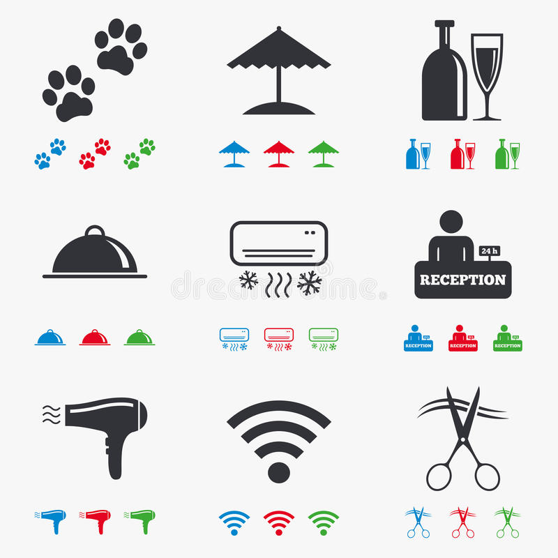 Apartment Services: Hotel, Apartment Services Icons. Wifi Sign Stock Vector