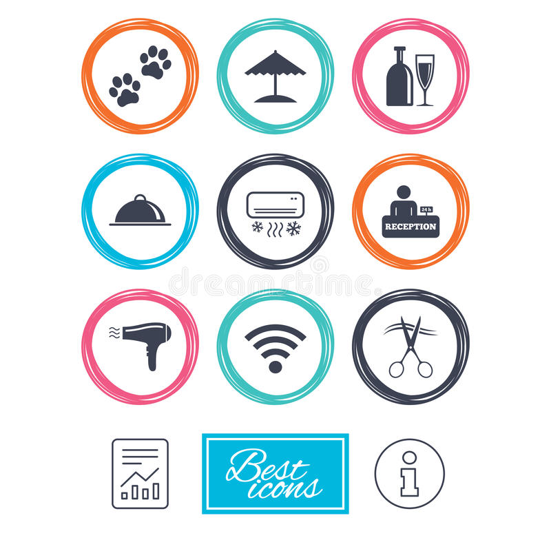 Hotel, apartment services icons. Wifi sign. Hotel, apartment services icons. Wifi internet sign. Pets allowed, alcohol and air conditioning symbols. Report vector illustration