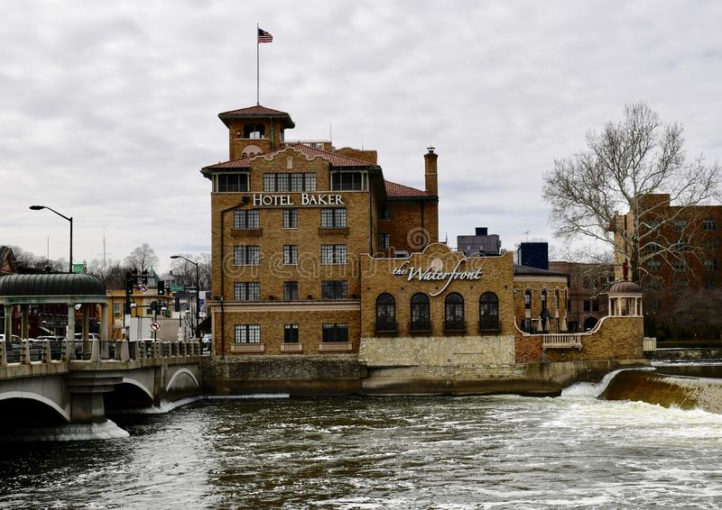 Hotel Baker on the Fox River royalty free stock images