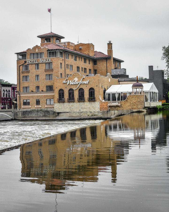 Hotel Baker - Saint Charles, Illinois. The beautiful, historical Hotel Baker and it`s reflection in the Fox River located in downtown Saint Charles, Illinois stock photos