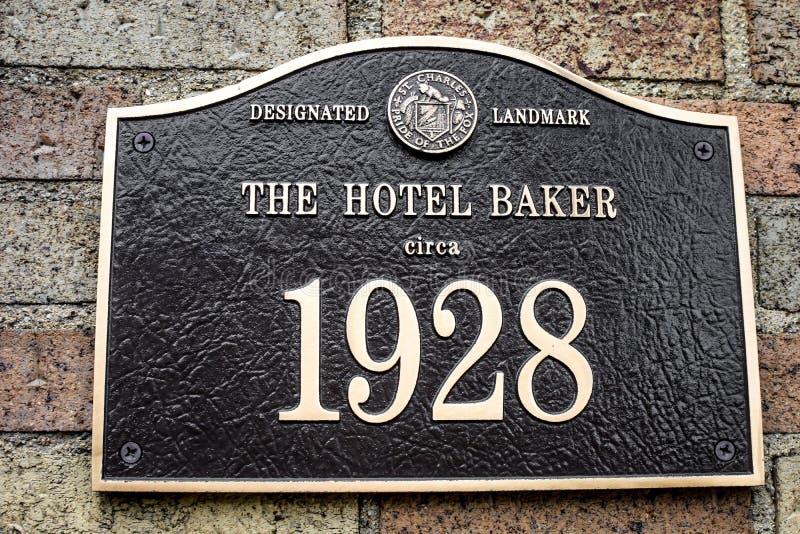 The Hotel Baker Designated Landmark Sign 1928 stock images