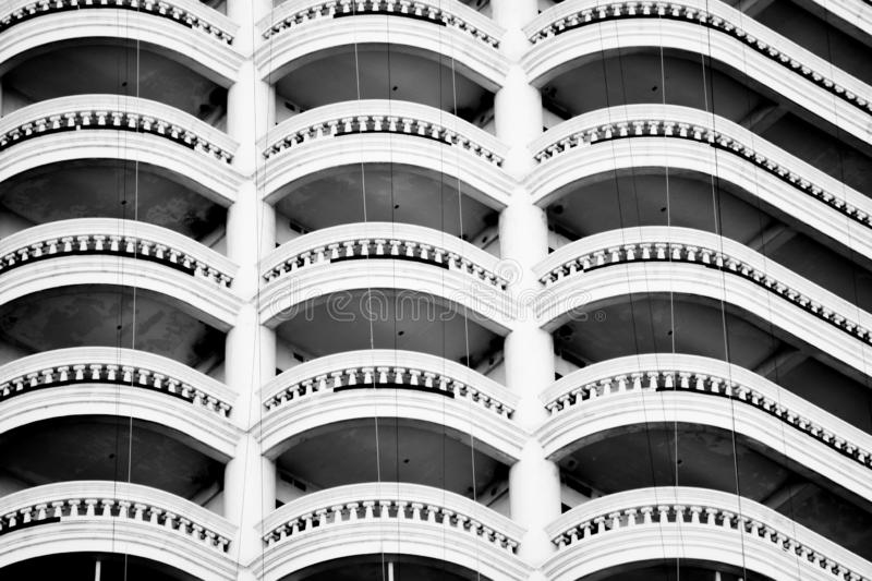 Hotel balcony close up, urban residential building front view close up. royalty free stock photos