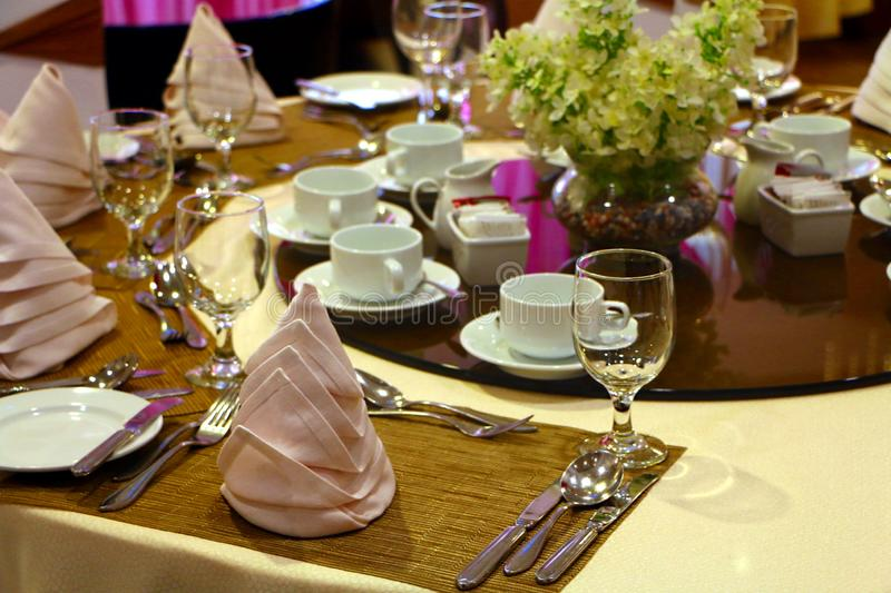 Hotel ballroom table setting and arrangement royalty free stock photography