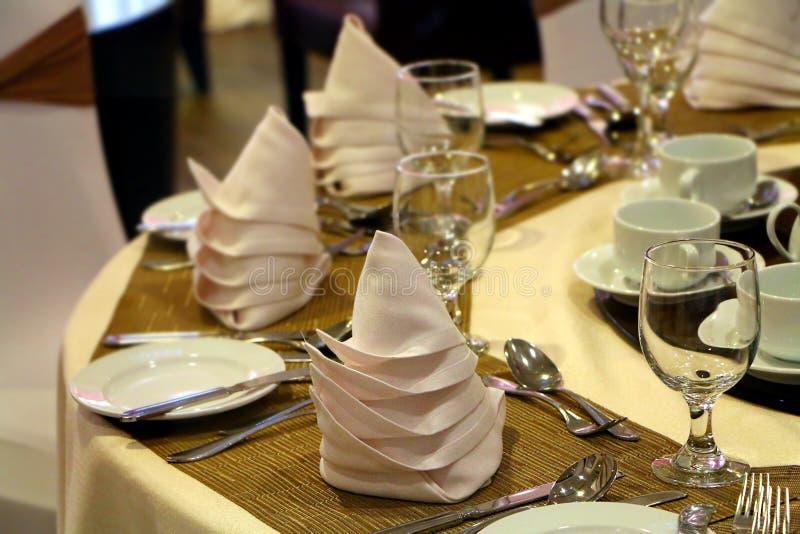 Hotel ballroom table setting and arrangement stock photo