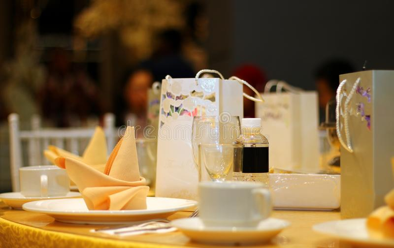 Ballroom table setting and arrangement royalty free stock photography