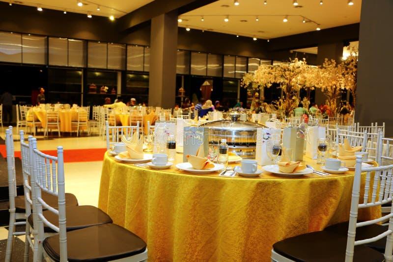 Ballroom table setting and arrangement stock photography