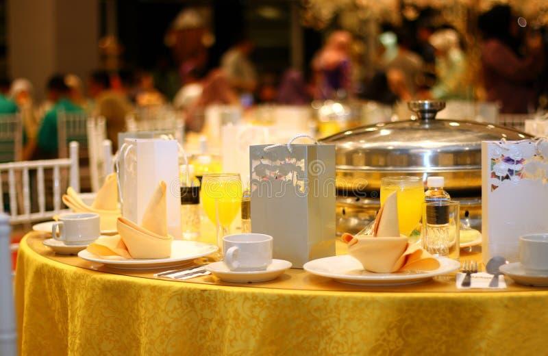 Ballroom table setting and arrangement stock photo