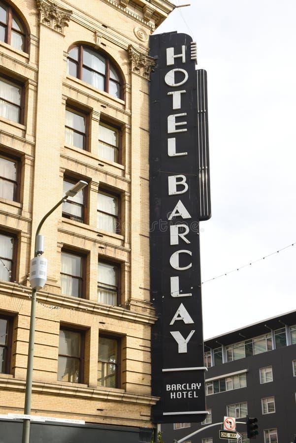 Hotel Barclay, teken op de Lente en de 4de Straathoek royalty-vrije stock afbeeldingen