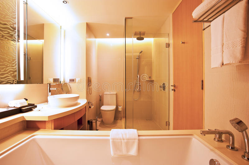 Hotel bathroom. Luxury hotel bathroom with bathtub and shower stock photos