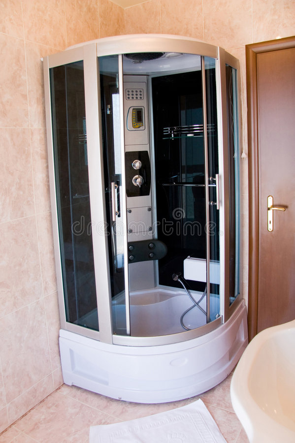 Hotel bathroom. Modern design, metal equipment royalty free stock photo