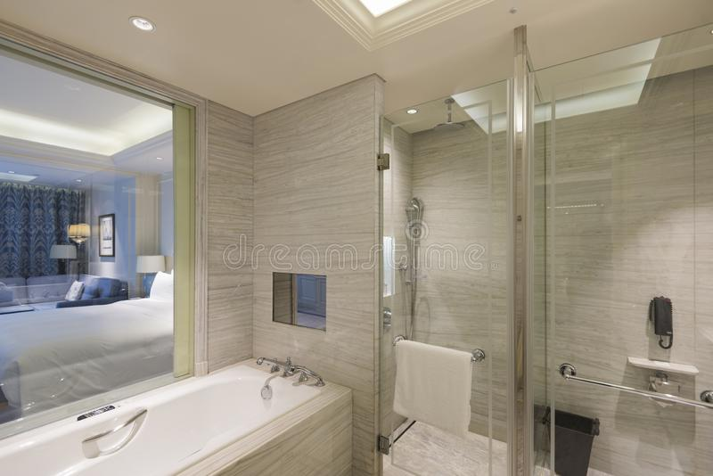 Hotel bathroom. A bright hotel bathroom, travel royalty free stock photo