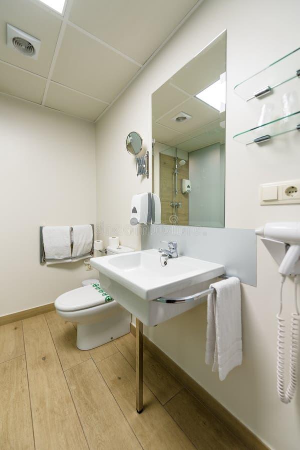 Download Hotel Bathroom Washbasin And Toilet Stock Image