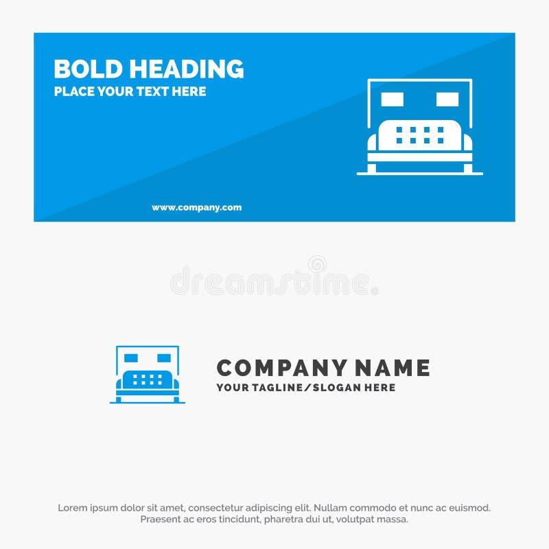 Hotel, Bed, Slaapkamer, de Websitebanner en Zaken Logo Template van het de Dienst Stevige Pictogram vector illustratie