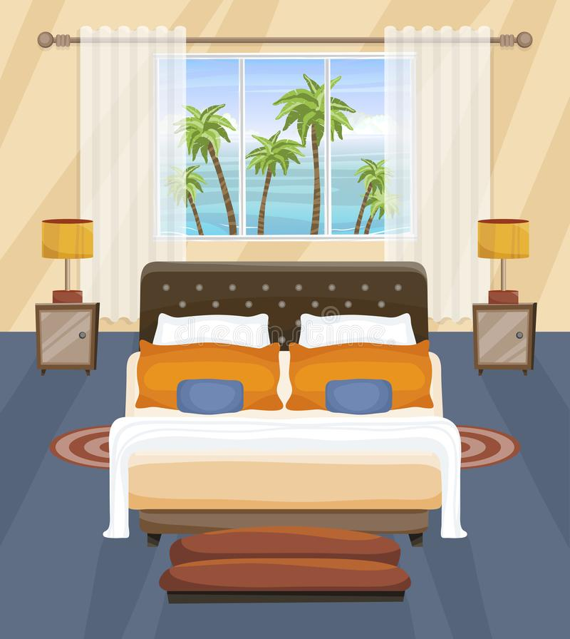 Hotel Bedroom flat interior design, tropical landscape outside the window. Room with bed. vector illustration