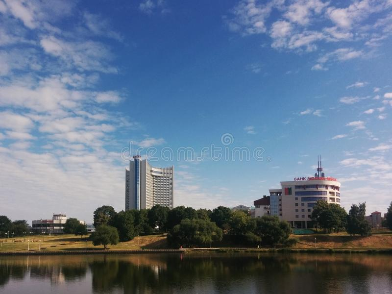 Hotel Belarus. Minsk. 2015. Minsk, Belarus). View of the hotel Belarus and the bank Moscow-Minsk. Embankment of river Svisloch. 2015 royalty free stock photography