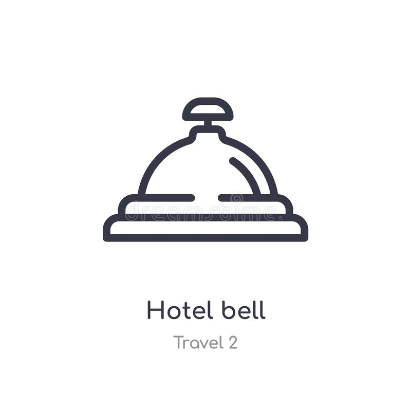 Hotel bell outline icon. isolated line vector illustration from travel 2 collection. editable thin stroke hotel bell icon on white. Background stock illustration