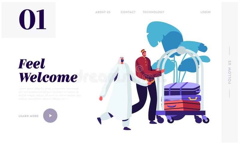 Hotel Bellboy Meet Arabic Guest in Hall Transporting Baggage by Cart. Muslim Businessman Stay in Guesthouse for Business Trip. Website Landing Page, Web Page stock illustration