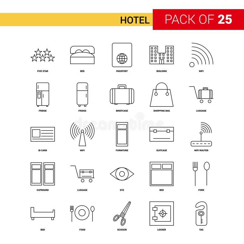 Hotel Black Line Icon - 25 Business Outline Icon Set stock illustration