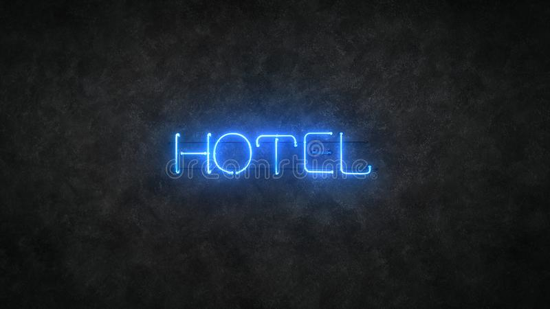 Hotel blue neon light sign 3D render illustration royalty free illustration