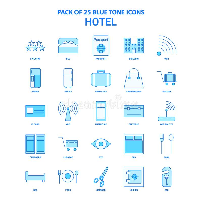 Hotel Blue Tone Icon Pack - 25 Icon Sets stock illustration